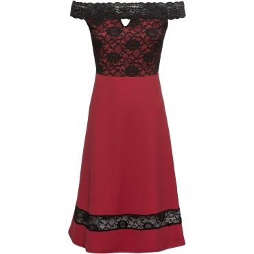 Kleid mit Carmenausschnitt und Spitze in rot  von bonprix