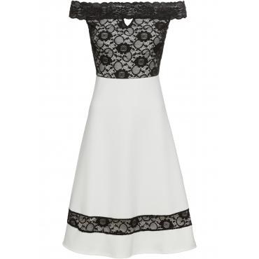 Kleid mit Carmenausschnitt und Spitze in weiß  von bonprix