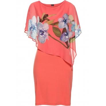 Jerseykleid mit Chiffon-Überwurf kurzer Arm  in pink für Damen von bonprix