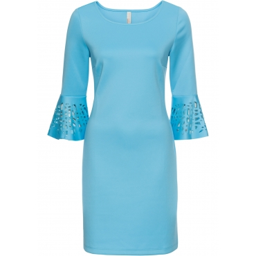 Scuba-Kleid mit Cut-Outs 3/4 Arm  in blau für Damen von bonprix