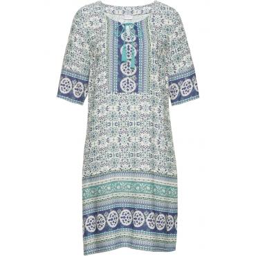 Kleid mit Druck 3/4 Arm  in weiß von bonprix