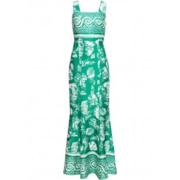 Kleid mit Druck ohne Ärmel  in grün für Damen von bonprix