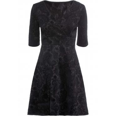 Kleid mit Flockprint halber Arm  in schwarz für Damen von bonprix