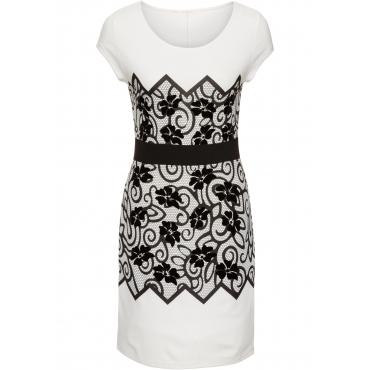 Kleid mit floralem Print kurzer Arm  in weiß von bonprix