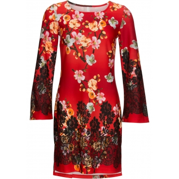Kleid mit floralem Print langarm  in rot von bonprix