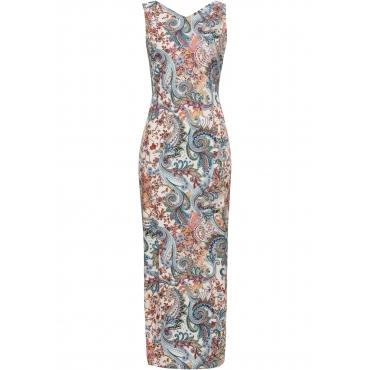 Kleid mit floralem Print ohne Ärmel  in beige von bonprix