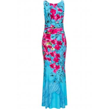 Kleid mit Floralem Print ohne Ärmel  in blau von bonprix