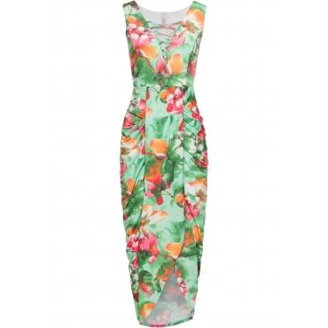 Kleid mit floralem Print ohne Ärmel  in grün von bonprix