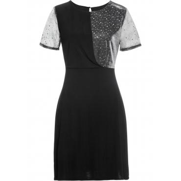 Kleid mit Glitzer-Effekt kurzer Arm  in schwarz für Damen von bonprix
