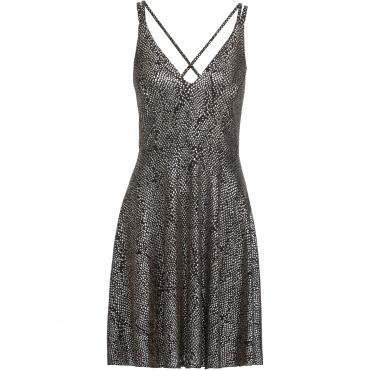 Kleid mit Glitzereffekt ohne Ärmel  in schwarz für Damen von bonprix