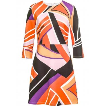 Kleid mit grafischem Print 7/8 Arm  in pink von bonprix