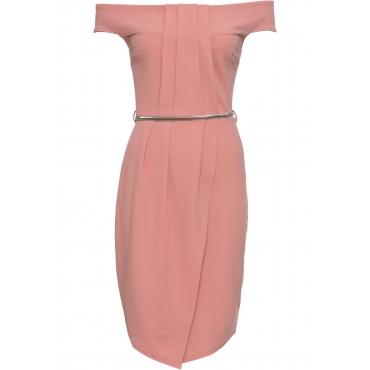 Kleid mit Gürtel kurzer Arm  in rosa  von bonprix