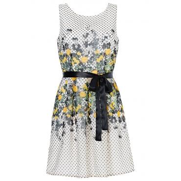 Kleid mit Gürtel ohne Ärmel  in weiß von bonprix