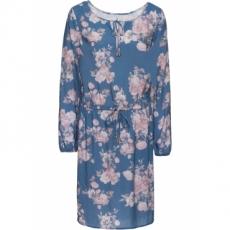 Kleid mit Gummizug langarm  in blau von bonprix