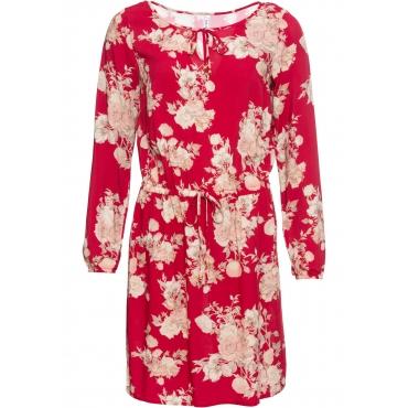 Kleid mit Gummizug langarm  in rot von bonprix