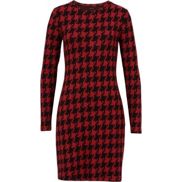 Kleid mit Hahnentritt-Muster langarm  in schwarz von bonprix