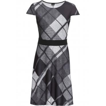 Kleid mit Karos kurzer Arm  in schwarz für Damen von bonprix