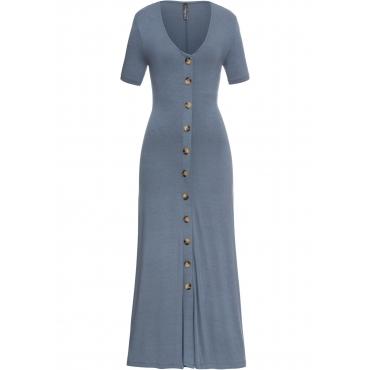 Kleid mit Knöpfen langarm  in grau von bonprix