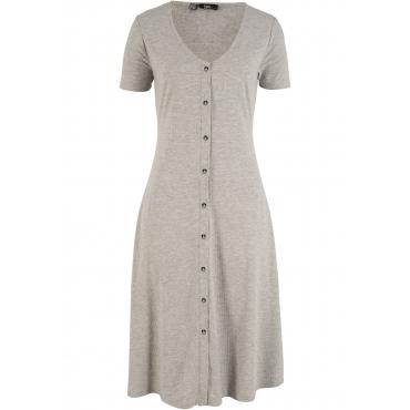 Kleid mit Knopfleiste halber Arm  in grau von bonprix