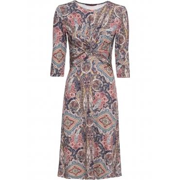 Stretch-Kleid mit Knoten-Optik 7/8 Arm  in blau für Damen von bonprix