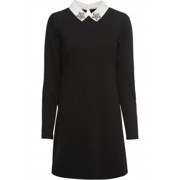 Kleid mit Kragen langarm  in schwarz von bonprix