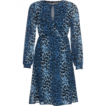 Kleid mit Leoprint langarm  in blau für Damen von bonprix