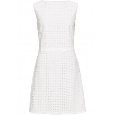 Kleid mit Lochoptik ohne Ärmel  in weiß für Damen von bonprix