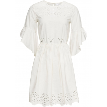 Kleid mit Lochstickerei halber Arm  in weiß für Damen von bonprix