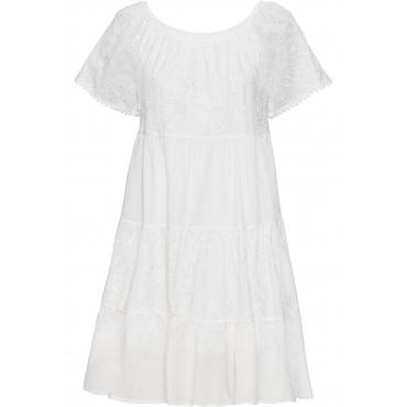 Kleid mit Lochstickerei kurzer Arm  in weiß für Damen von bonprix