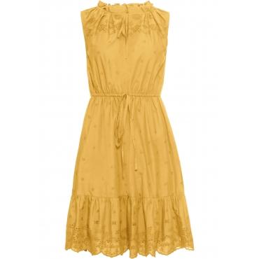 Kleid mit Lochstickerei ohne Ärmel  in gelb für Damen von bonprix