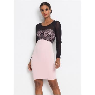 Kleid mit Mesh Ärmeln langarm  in schwarz für Damen von bonprix