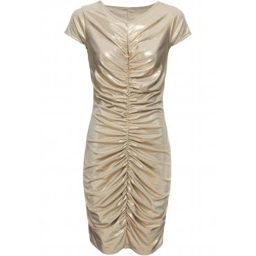 Kleid mit Metallic-Print kurzer Arm  in gold von bonprix