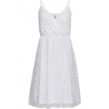 Kleid mit Metallic-Print ohne Ärmel  in weiß von bonprix