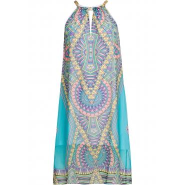 Kleid mit Muster ohne Ärmel  in blau für Damen von bonprix
