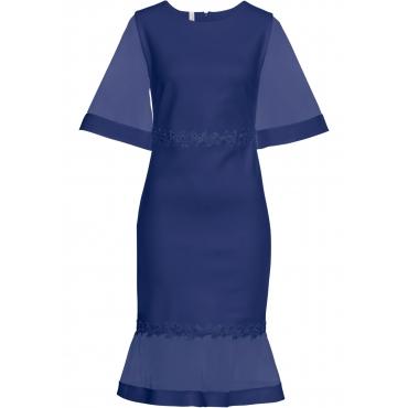 Kleid mit Netz-Einsätzen und Spitze 3/4 Arm  in blau für Damen von bonprix