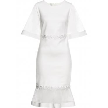 Kleid mit Netz-Einsätzen und Spitze 3/4 Arm  in weiß für Damen von bonprix