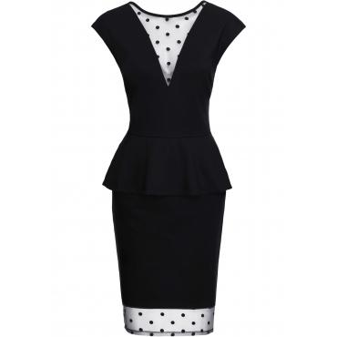 Shirtkleid mit Netzansatz kurzer Arm  in schwarz für Damen von bonprix