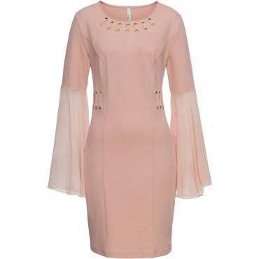 Kleid mit Ösen und Chiffon-Ärmel langarm  in rosa  von bonprix