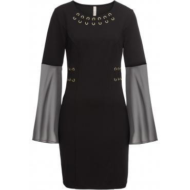 Kleid mit Ösen und Chiffon-Ärmel langarm  in schwarz  von bonprix