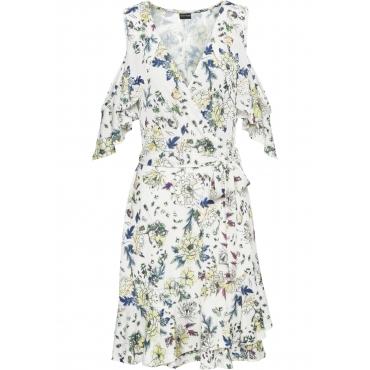 Kleid mit offenen Schultern halber Arm  in weiß von bonprix