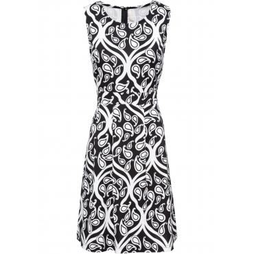 Kleid mit Ornament-Print ohne Ärmel  in schwarz von bonprix