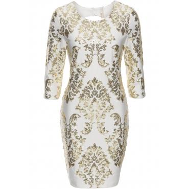 Kleid mit Pailletten 7/8 Arm  in weiß  von bonprix