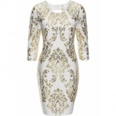 Kleid mit Pailletten in weiß von bonprix