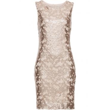 Kleid mit Pailletten ohne Ärmel  in gold von bonprix