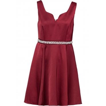 Kleid mit Perlen und Strasssteinchen ohne Ärmel  in rot für Damen von bonprix