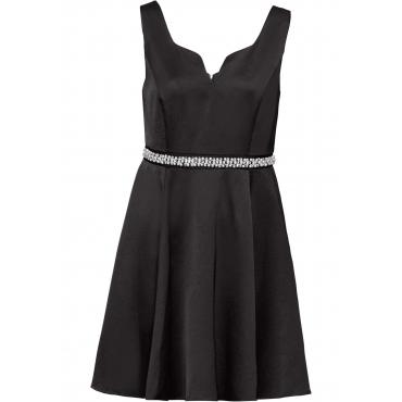 Kleid mit Perlen und Strasssteinchen ohne Ärmel  in schwarz für Damen von bonprix