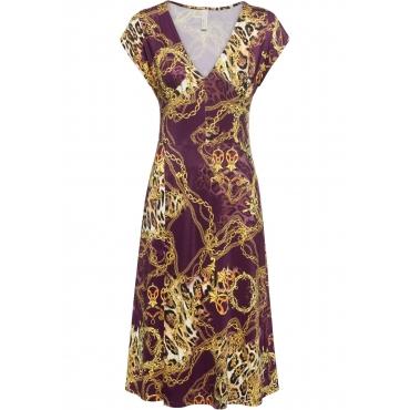 Kleid mit Print kurzer Arm  in lila für Damen von bonprix