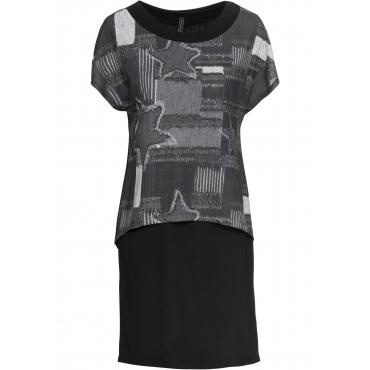 Kleid mit Print kurzer Arm  in schwarz für Damen von bonprix