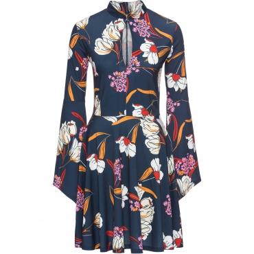 Kleid mit Print langarm  in blau von bonprix