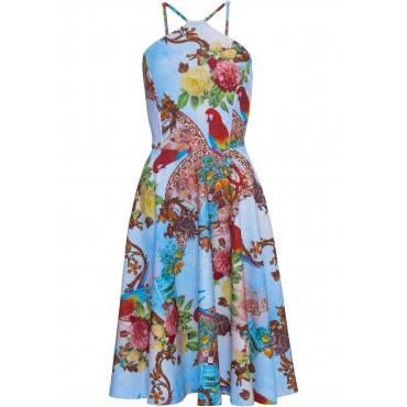 Kleid mit Print ohne Ärmel  in blau für Damen von bonprix